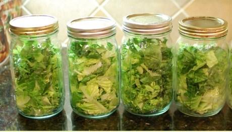 Cho rau gia vị vào các lọ thủy tinh để bảo quản lâu hơn