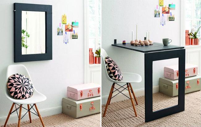 Chiếc gương thần kỳ. Khi bạn cần không gian cho những vật dụng khác, hãy để trước gương của bạn như gợi ý. Nhiều khi nó còn hữu ích hơn khi ở trên tường đấy.