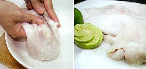 Sử dụng chanh và bột mì là cách làm sạch bao tử heo dễ dàng